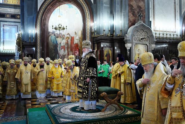 В одиннадцатую годовщину интронизации Святейшего Патриарха Кирилла епископ Сурожский Матфей сослужил Предстоятелю Русской Православной Церкви